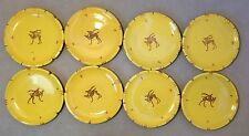 Set Of 8 Antique Della Robbia Focal Orvieto Pottery Dishes Reindeer 1894-1906