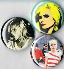 set of 3 Blondie pins buttons badges debbie harry punk new wave 80s