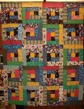 """Scrappy Multi Primary Colors Log Cabin Quilt Top 35"""" x 43"""""""