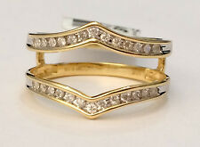 1/5ct 0.20ct Channel Set Solitaire Enhancer Diamonds Ring Guard Wrap Yellow Gold