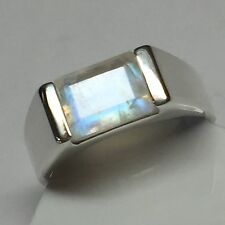 Genuine Emerald Cut Rainbow Moonstone 925 Solid Sterling Silver Men's Ring 8.75