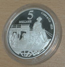 AUSTRALIA 1995 SILVER PROOF 1OZ $5 COLONIAL AUSTRALIA - COBB & CO STAGECOACH