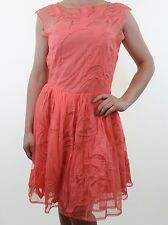 BNWT ASOS coral pink floral embroidered lace empire prom dress size 10 euro 38