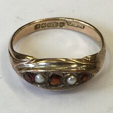 Antique 9ct Solid Rose Gold Pearl & Garnet Dress Ring Size J1/2 1925
