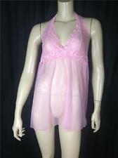 FAMOUS CATALOG NEW DREAM ANGELS HALTER LACE 2 PIECE MESH BABYDOLL PINK SZ M