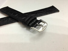LONGINES FLAT/THIN CROC GENTS LEATHER STRAP,18MM-BLACK,STAINLESS STEEL BUCKLE