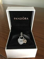 New Authentic PANDORA S925 ALE Silver & Gold Love Locks CZ C791807CZ Charm w/Box
