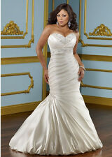 New Mermaid White/Ivory Bridal Wedding Dress Custom Plus Size 18-20-22-24-26-28+
