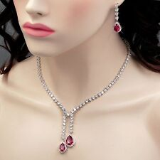 White Gold Plated Red Cubic Zirconia Necklace Earrings Wedding Jewelry Set 00878