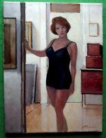 Art Deco Ginger Bob Hair Girl in Girdle : Original Oil Painting Zlatan Pilipovic