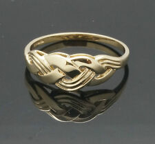 9Carat Yellow Gold Celtic Woven Head Signet Ring (Size R) 7mm Head Width
