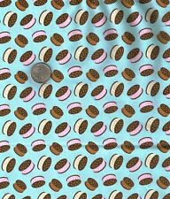 Ice Cream Sandwiches Blue Novelty Food Candy Jar Quilt Fabric Fat Quarter FQ FQs