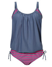Gray Women's Bikini Set Padded Halter Tankini Top Swimsuit Bathing Suit Swimwear