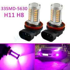 2x Fog Light H11 H8 33SMD Pink Purple Bulbs Lamp Lens Car Accessories Cover