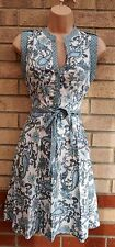 DOROTHY PERKINS BLUE WHITE PAISLEY BELTED HALF BUTTONED SKATER FLIPPY DRESS 10 S