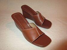 NICE Ralph Lauren Brown Leather Wedge clogs mules heels Shoes 9.5 B Melanie