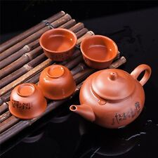 Exquisite 5 PCS Asian Chinese Calligraphy Design Purple Clay Tea Pot Tea Cups...