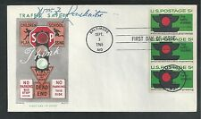 # 1272 TRAFFIC SAFETY 1965 Chickering First Day Cover (Postmaster Stamped) Strip