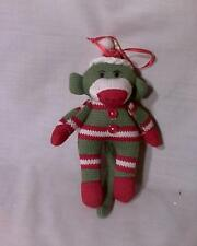 SOCK MONKEY CHRISTMAS ORNAMENT, GREEN, RED AND WHITE, WITH BUTTONS