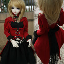 NEW BJD 1/ 3 Doll Clothes Wester Style Uniform Red Black Dress Suit(4pcs) for