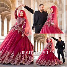 Long-Sleeve Applique beads Ball Gown  Wedding Dresses Bead Muslim Bridal Dress