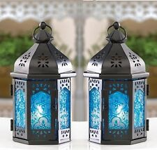 """Blue Moroccan Candle Lantern 7 1/2"""" tall (Set of Two) Wedding Supplies 15247"""