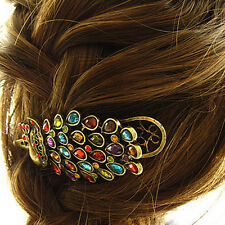 Girls Women Vintage Crystal Rhinestone Peacock Hair Barrette Clip Hairpin 1pcs