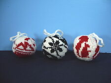 Christmas Ornaments Knit Balls Hand Made Anchor Reindeer Snowflake Lot of 19