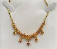 14k Solid Yellow Gold Cluster Pendant Necklace/ Chain, Natural Color Sapphire