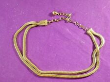 """VINTAGE GOLDPLATED SNAKE CHAIN NECKLACE DOUBLE STRAND FITS UP TO 15 1/2"""""""