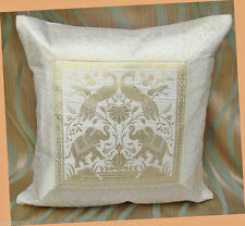 WHITE COLOR ELEPHANT PEACOCK SILK BROCADE PILLOW/CUSHION COVER FROM INDIA ! !