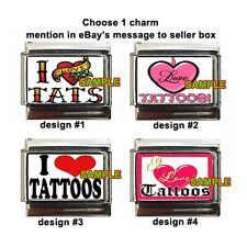 I Love Tattoos Tats Custom Italian Charm with heart