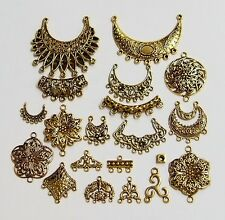 20 Different Antique Gold Deco Jewelry Connectors 4 Pendants Earrings Necklaces