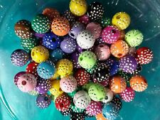 Bling Beads Acrylic Beads 10mm Bulk Beads Wholesale Metal Enlaced 50pc Assorted