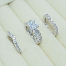 Size 6 Fashion Diamonique CZ White Gold Filled Engagement Wedding Ring Set