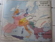 affiche scolaire carte histoire  l'empire de charlemagne, les invasions barbares