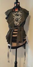 all saints fury leather suede gilet new with tags uk 8 us 4 eu 36