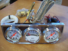 Chrome Triple Gauge Kit-Oil Pressure,meter,Water Temp