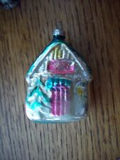Antique Glass Figural German Christmas Ornament 1930's Santa's North Pole Home
