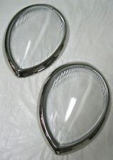 1937 to 1939 Ford Standard Car Headlight Lens Lenses + Stainless Trim Ring Combo
