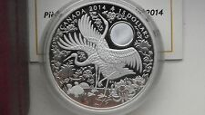 2014 Canada $15 Maple of Longevity Crane Silver Proof coin in OGP