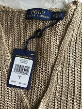 Polo Ralph Lauren Open-Knit V-neck Sweater Champagne Size S NWTS!! $225