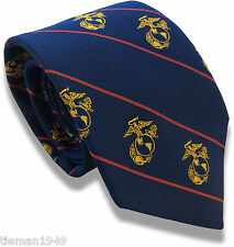 US Marine Corps Regimental  Tie - Navy Blue with Red Stripes and Gold Crest USMC