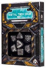 Q-workshop 7 Dice Set of Metal & Black Tech SMTE35