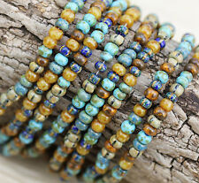 Exclusive!!! 6/0 AGED NEW CARIBBEAN STRIPED PICASSO MIX CZECH SEED BEADS - 30g