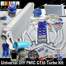 DIY Universal BLUE EMUSA GT35 Turbo Kit FMIC High Performance