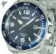 New SEIKO KINETIC BLUE FACE DIVERS STYLE With STAINLESS STEEL BRACELET SKA745P1
