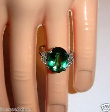 GENUINE GREEN QUARTZ AND DIAMOND MARQUISE PLATINUM RING! ESTATE! SIZE 6!