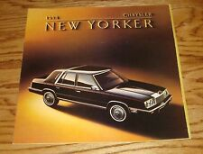 Original 1984 Chrysler New Yorker Deluxe Sales Brochure 84