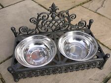 LARGE 2 SHABBY CHIC STYLE ANTIQUE CAST IRON Pet DOG CAT BOWL DISH STEEL BOWLS